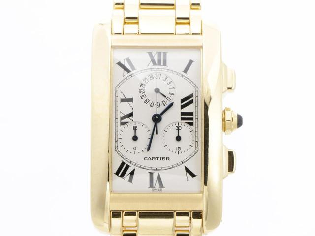 カルティエ タンク アメリカン クロノリフレックスLMの腕時計
