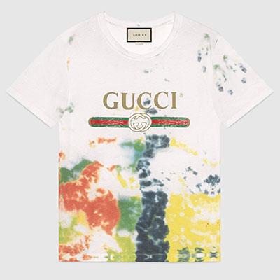 グッチ ロゴ 絞り染めコットン Tシャツ