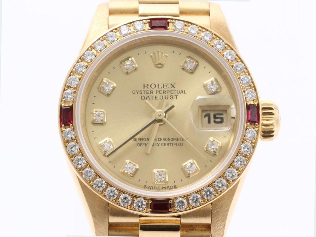 ロレックスデイトジャストルビー腕時計