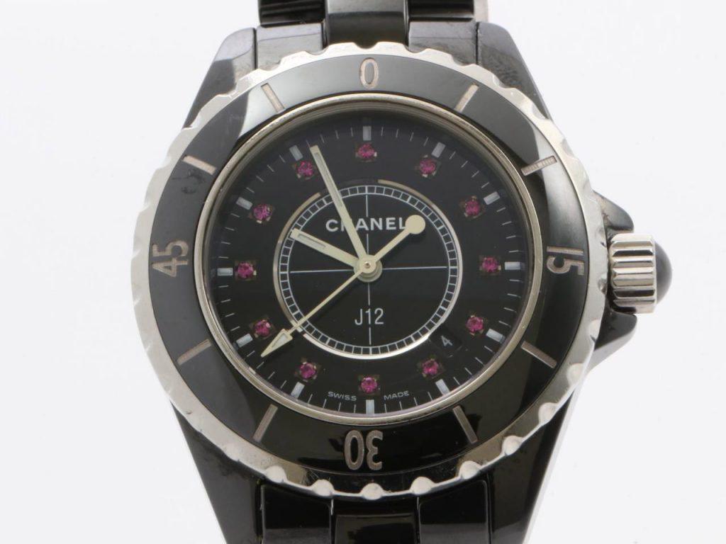 シャネルJ12ルビー12P腕時計